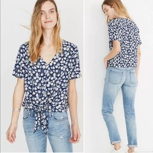 Madewell V Neck Blue Floral Front Tie Top Large